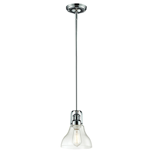 Forge Chrome One-Light Mini Pendant with Clear Glass