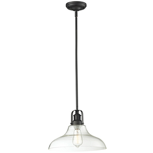 Forge Bronze One-Light Pendant with Clear Glass