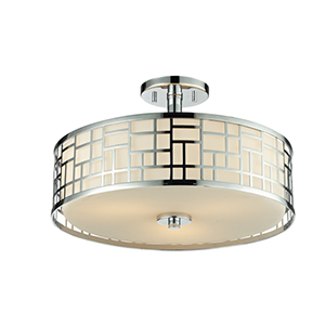 Elea Chrome 16-Inch Width Three-Light Semi-Flush Mount