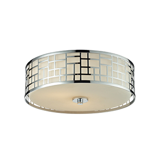 Elea Chrome 16-Inch Width Three-Light Flush Mount Light