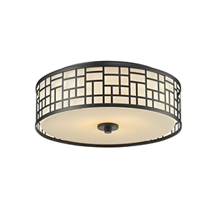Elea Bronze 16-Inch Width Three-Light Flush Mount Light