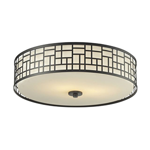 Elea Bronze 20.5-Inch Width Three-Light Flush Mount Light