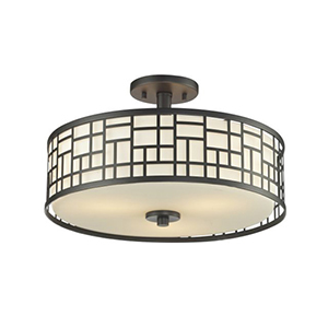 Elea Bronze 16-Inch Width Three-Light Semi-Flush Mount