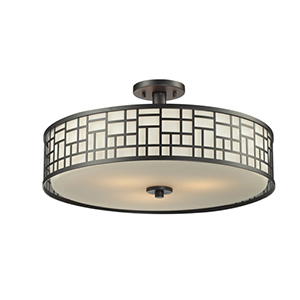 Elea Bronze 20.5-Inch Width Three-Light Semi-Flush Mount