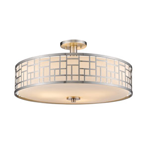 Elea Brushed Nickel Three-Light Twenty-Inch Semi-Flushmount