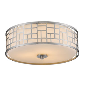 Elea Brushed Nickel Three-Light Sixteen-Inch Flushmount
