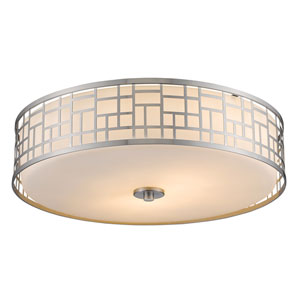Elea Brushed Nickel Three-Light Twenty-Inch Flushmount