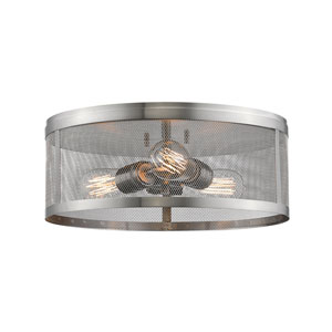 Meshsmith Brushed Nickel 15-Inch Three-Light Flush Mount
