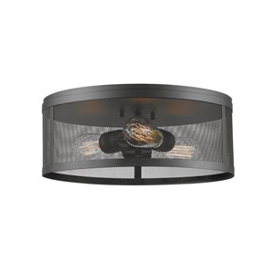 Meshsmith Bronze 15-Inch Three-Light Flush Mount