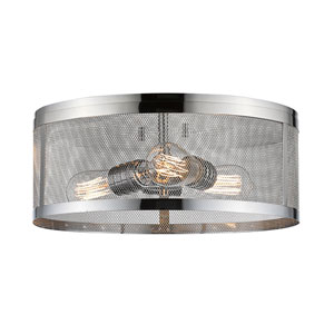 Meshsmith Chrome 15-Inch Three-Light Flush Mount