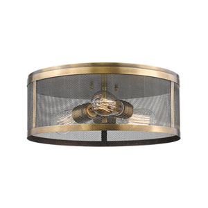Meshsmith Natural Brass 15-Inch Three-Light Flush Mount