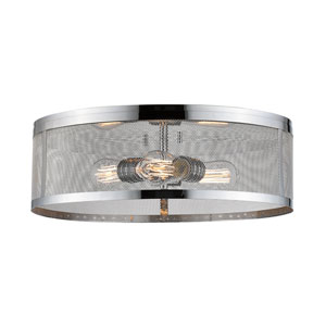 Meshsmith Chrome 18-Inch Three-Light Flush Mount