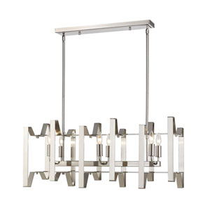 Marsala Brushed Nickel Six-Light Linear Pendant