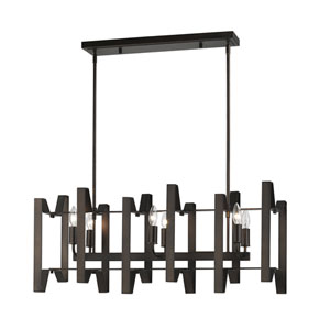 Marsala Bronze Six-Light Linear Pendant