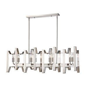 Marsala Brushed Nickel Eight-Light Linear Pendant