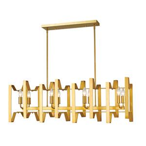 Marsala Polished Metallic Gold Eight-Light Linear Pendant