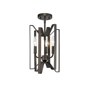 Marsala Bronze Three-Light Semi Flush Mount