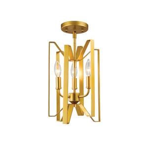 Marsala Polished Metallic Gold Three-Light Semi Flush Mount