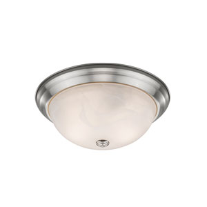 Athena Brushed Nickel 13-Inch Two-Light Flush Mount with Alabaster Glass Shade