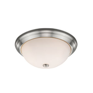 Athena Brushed Nickel 13-Inch Two-Light Flush Mount with Frosted Glass Shade