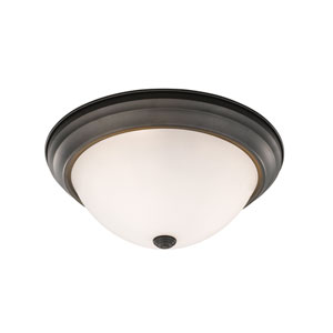 Athena Bronze 15-Inch Three-Light Flush Mount with Frosted Glass Shade