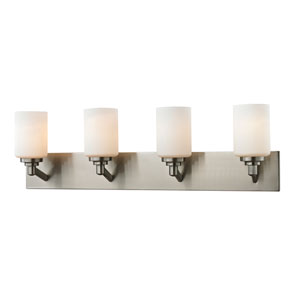 Montego Brushed Nickel Four-Light Vanity with Matte Opal Glass