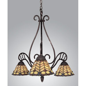 Golden Peacock Bronze Three-Light Downlight Chandelier
