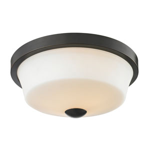 Montego Coppery Bronze Two-Light Flush Mount with Matte Opal Glass