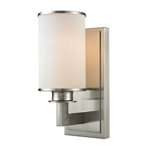 Savannah Brushed Nickel One-Light Wall Sconce with Matte Opal Glass