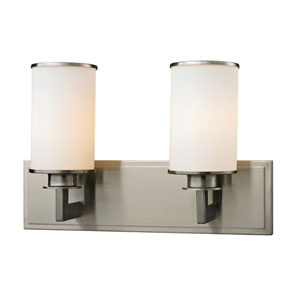 Savannah Brushed Nickel Two-Light Vanity with Matte Opal Glass