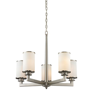 Savannah Brushed Nickel Five-Light Chandelier with Matte Opal Glass