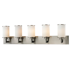 Savannah Brushed Nickel Five-Light Vanity with Matte Opal Glass