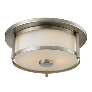 Savannah Brushed Nickel 11-Inch Two-Light Flush Mount with Matte Opal Glass