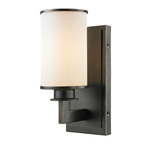 Savannah Olde Bronze One-Light Wall Sconce with Matte Opal Glass