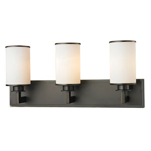 Savannah Olde Bronze Three-Light Vanity with Matte Opal Glass