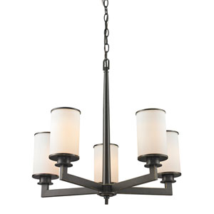 Savannah Olde Bronze Five-Light Chandelier with Matte Opal Glass
