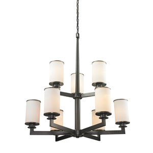 Savannah Olde Bronze Nine-Light Chandelier with Matte Opal Glass