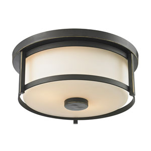 Savannah Olde Bronze 11-Inch Two-Light Flush Mount with Matte Opal Glass