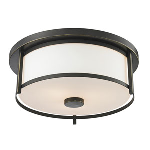 Savannah Olde Bronze 14-Inch Two-Light Flush Mount with Matte Opal Glass