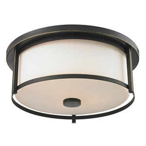Savannah Olde Bronze Three-Light Flush Mount with Matte Opal Glass