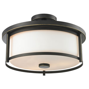 Savannah Olde Bronze Three-Light Semi Flush Mount with Matte Opal Glass