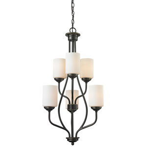Cardinal Olde Bronze Six-Light Chandelier with Matte Opal Glass