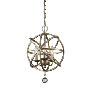 Acadia Antique Silver and Clear Crystal Three-Light Pendant with -
