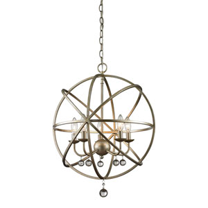 Acadia Antique Silver and Clear Crystal Five-Light Pendant with -