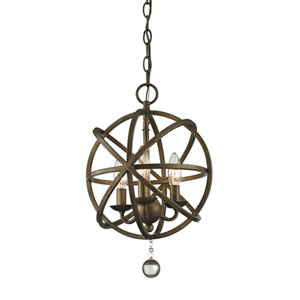 Acadia Golden Bronze and Clear Crystal Three-Light Pendant with -