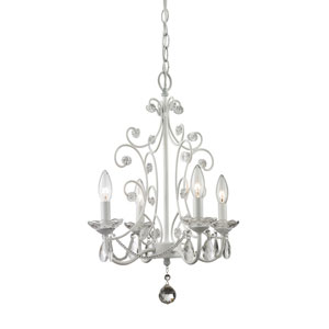 Princess Gloss White Four-Light Mini Chandelier with Clear Crystal