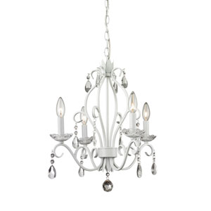 Princess Matte White Four-Light Mini Chandelier with Clear Crystal