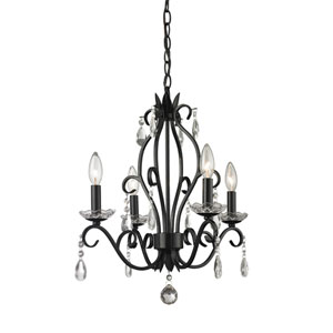 Princess Matte Black Four-Light Mini Chandelier with Clear Crystal