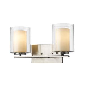 Willow Brushed Nickel Two-Light Vanity Fixture