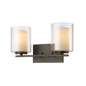 Willow Olde Bronze Two-Light Vanity with Inner Matte Opal and Outer Clear Glass